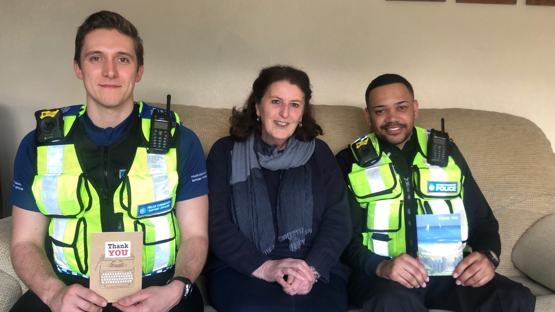 Wendy thanks Safer Travel PCSO Ollie Cornell and SPC Connor Harris